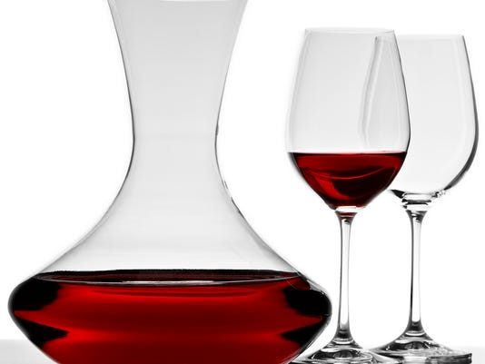 wine decanter with glasses