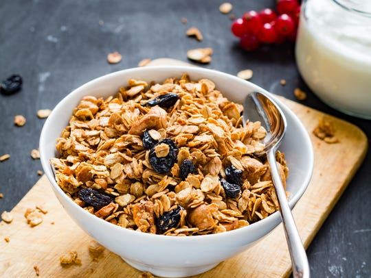Homemade granola with nuts and dried fruits.