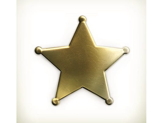 Gold sheriff star with photo border