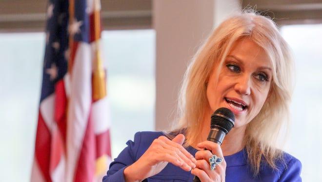 Kellyanne Conway talks tax reform to NJ Federation of Republican Women at Fox Hollow Golf Club in Branchburg on Nov. 14, 2017.