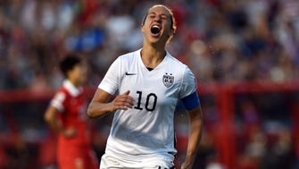 U.S. midfielder Carli Lloyd (10) celebrates her goal against China during the second half in the quarterfinals of the FIFA 2015 Women's World Cup at Lansdowne Stadium.