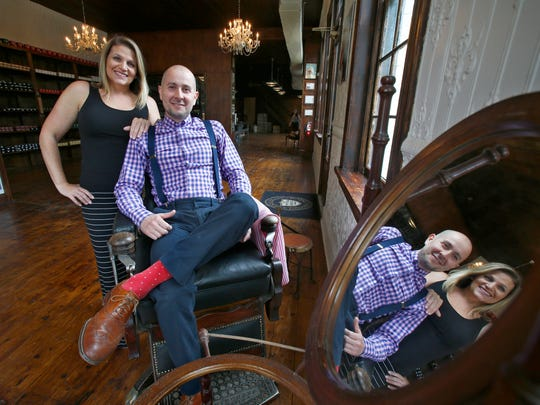 Kim and John Scala are shown in The New York Shaving Co.'s Freehold manufacturing and retail store.