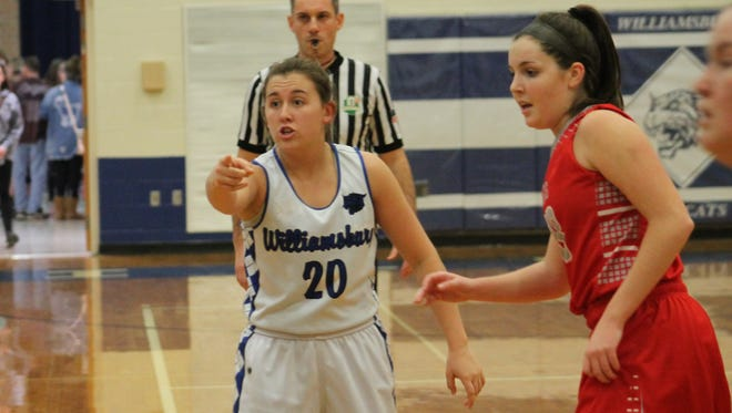 Peyton Fisher of Williamsburg shouts out directions in the Lady Wildcats game with Bethel-Tate Jan. 11.