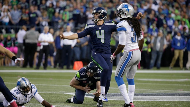 Seattle Seahawks kicker Steven Hauschka (4) kicks a field goal against the Detroit Lions in the first half of an NFL football game, Monday, Oct. 5, 2015, in Seattle.