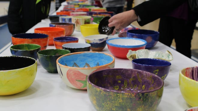There are more than 1,200 bowls for sale at the Empty Bowls event, organizers say.