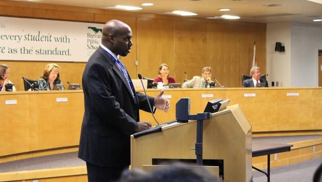 Brevard Public Schools Superintendent Desmond Blackburn speaks during a school board meeting on Tuesday, Dec. 15, 2015.
