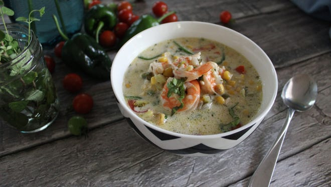 Spicy Poblano and Indiana Corn Chowder with Shrimp.