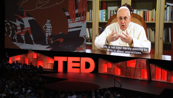 Pope Francis speaks during the TED Conference, urging people to connect with and understand others, during a video presentation at the annual scientific, cultural and academic event in Vancouver April 25, 2017.