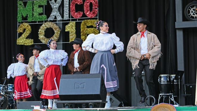 Members of the Ballet Folklorico Dance Academy of Mexico take to the stage to perform at Mexican Fiesta at Maier Festival Park in 2016.