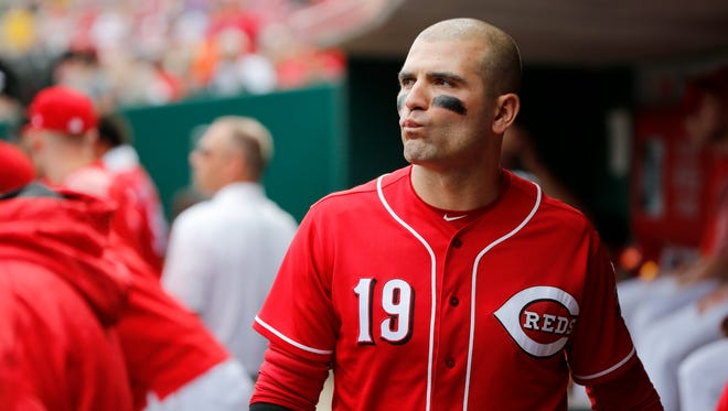 Cincinnati Reds first baseman Joey Votto (19) paces the dugout before the bottom of the eighth inning during the game between the Cincinnati Reds and the Milwaukee Brewers at Great American Ball Park on Sept. 6.