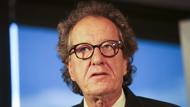 Australian actor Geoffrey Rush speaks to the media during a press conference in Melbourne, Victoria, Australia, Dec. 8, 2017.
