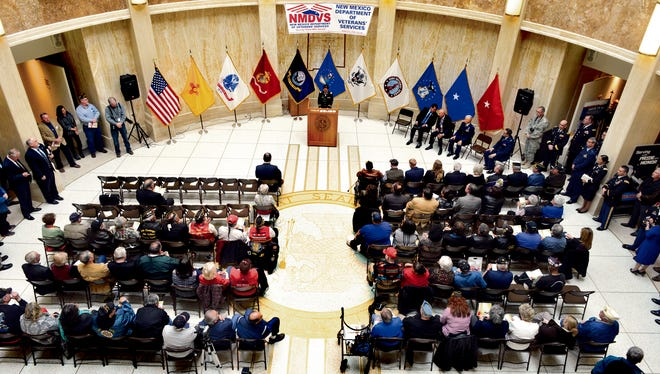 Legislators marked the 100th anniversary of the first federal activation of the New Mexico National Guard during the Military and Veterans Day Monday in the rotunda of the New Mexico State Capitol in Santa Fe.