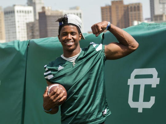 Detroit Cass Tech receiver Donovan Peoples-Jones poses for a photo during practice Wednesday Aug.17, 2016 at Cass Tech High School in Detroit.