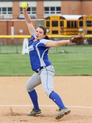 Sayreville's Kelly Duffy delivers a pitch against South Plainfield on April 19, 2017.