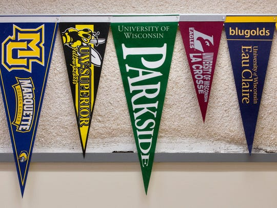 College pennants decorate the new College & Career Center at Barack Obama School of Career and Technical Education on N. Sherman Blvd.