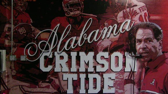 This is a mural outside the Alabama locker room at the Georgia Dome for the SEC title game.