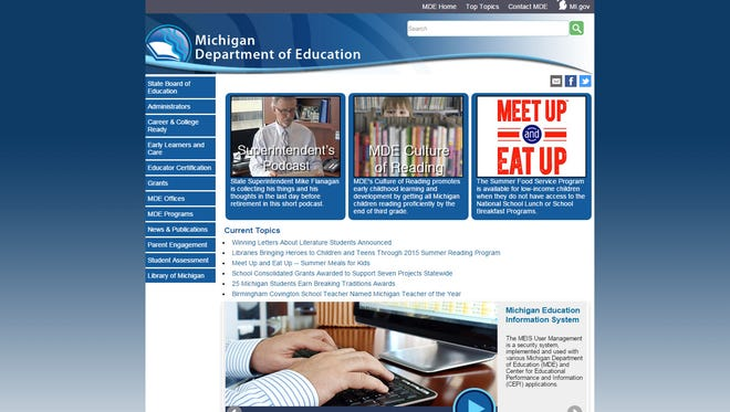 A screen grab of the Michigan Department of Education's web site.