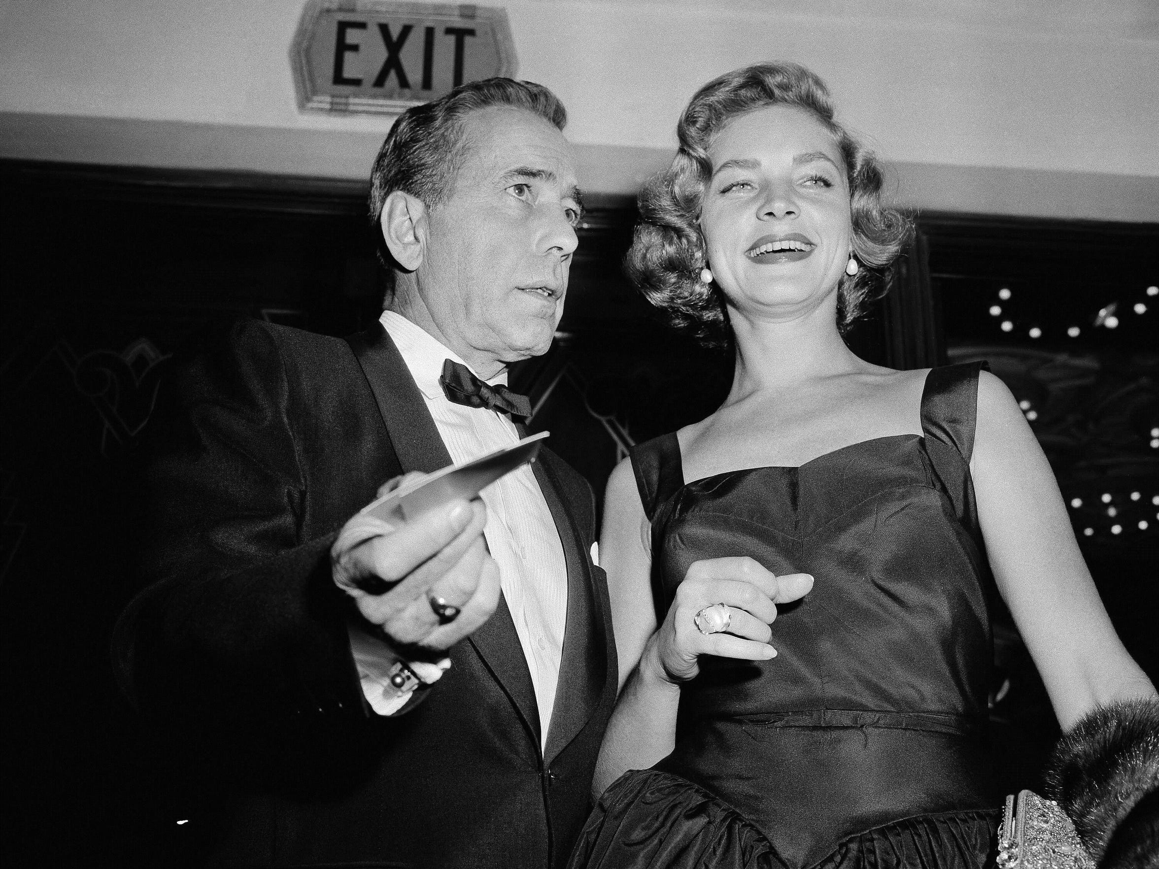 Humphrey Bogart and wife Lauren Bacall at the premiere