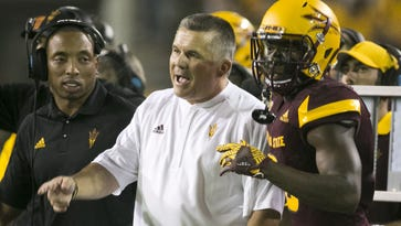 Arizona State coach Todd Graham instructs during the first quarter in the season opener against NAU at Sun Devil Stadium in Tempe on Saturday, Sept. 3, 2016.