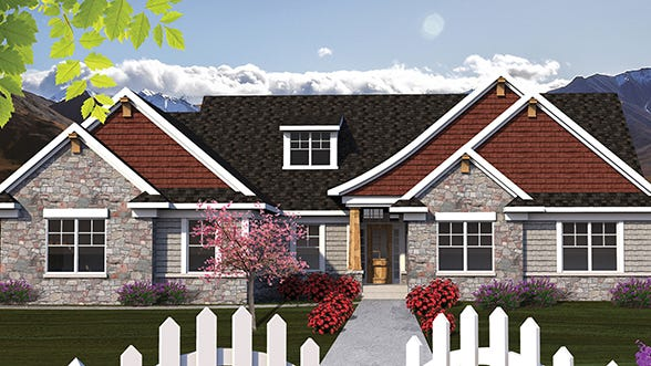 This stunning ranch-style home displays an exceptionally graceful roof line and a mix of stone and shingle siding.