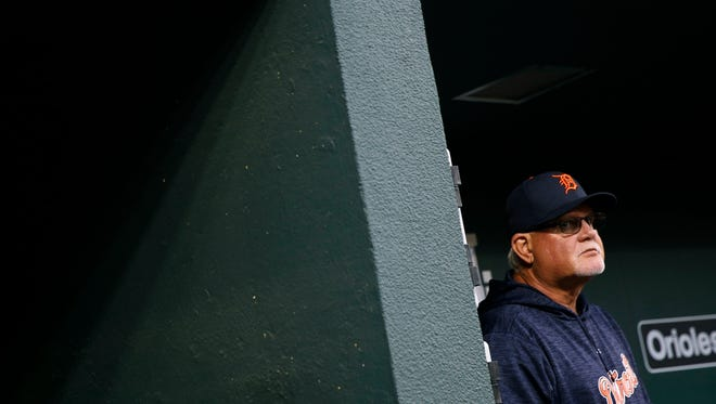 Tigers manager Ron Gardenhire stands in the dugout during the first inning against the Orioles on April 27, 2018 in Baltimore.