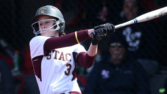 St. Thomas Aquinas'  Missy Sadler at bat  against Queens