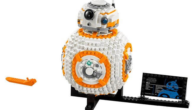 75187 - BB-8™ (RRP: $99.99 USD, $129.99 CAD)   Own your very own LEGO® BB-8! Turn the wheel to spin the head and turn another to open the hatch and see the welding torch pop out, just like it did in the movie! You can also sit BB-8 on the stand so you can show your friendly droid to all your friends when they come to visit!   Launch: 9/1/2017   Age Mark:  10-16   Piece Count:  1106
