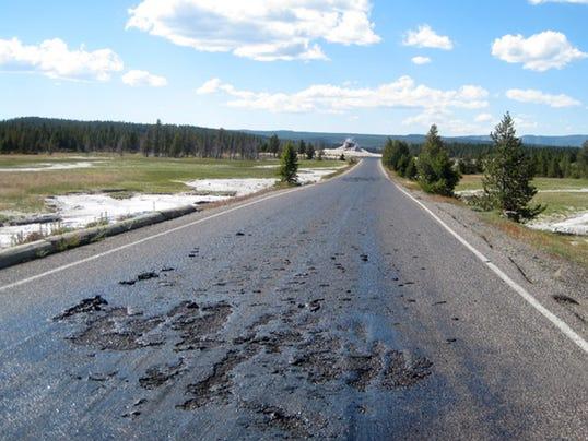 AP Yellowstone Hot Road
