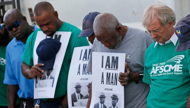 """I am a man"" observance for Memphis, Tenn. sanitation workers killed Feb. 1, 1968, Hallandale Beach, Fla., Feb. 1, 2018."