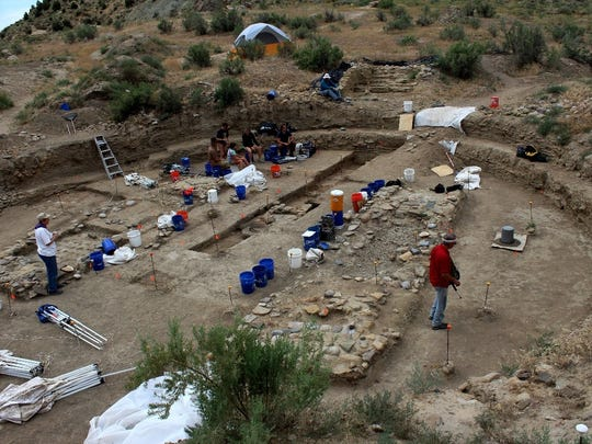 San Juan College students excavate the great kiva on Tommy Bolack's B-Square Ranch south of Farmington last summer. The structure was likely used for religious purposes and rituals.