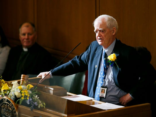Senate President Peter Courtney speaks at the inauguration