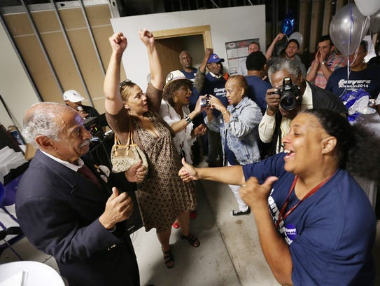 John Conyers thanks his supporters after declaring