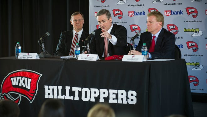 "Western Kentucky University's new head basketball coach, Rick Stansbury, speaks during his first press conference at Houchens Industries-L.T. Smith Stadium in Bowling Green.  ""I believe that what a young man does off the court carries over onto the court,"" Stansbury said. Stansbury comes from an associate head coach position at Texas A&M, replacing Ray Harper, resigned after three WKU basketball team members were suspended on March 17, 2016. Justin Gilliland, Special to the Courier-Journal"
