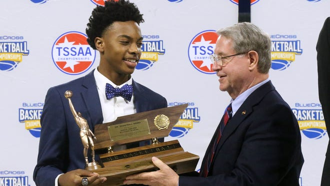 Brentwood Academy's Darius Garland is presented with the Division II Mr. Basketball Award on Tuesday, March 7, 2017.