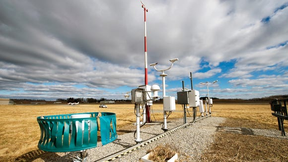 The National Weather Service maintains this weather station at York Airport in Jackson Township. The airport records low temperatures on cold, calm nights. The readings are often far lower than others around the region. It's a microclimate, said Eric Horst, director of the Weather Information Center at Millersville University. Cold air drains into a low flat spot from surrounding hills.
