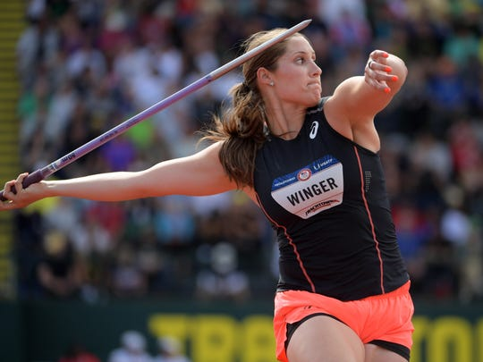 Kara Winger places third in the women's javelin at 189-11 (57.90m) during the 2016 U.S. Olympic Team Trials at Hayward Field.
