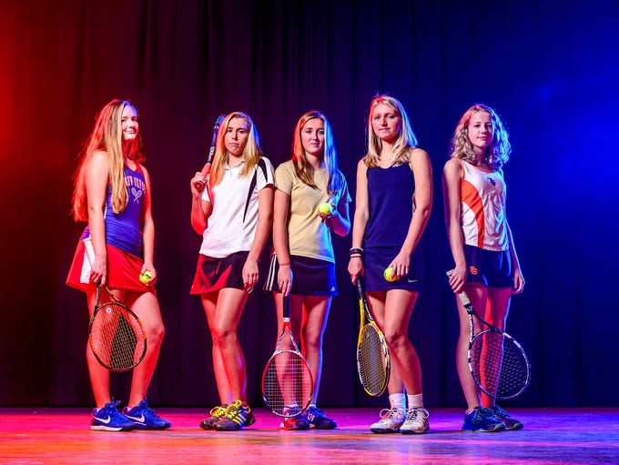 GameTimePA's all-star girls' tennis players. From left