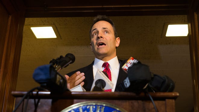 Gov. Matt Bevin addressed the media regarding kynect during a press conference at the Capitol Thursday.