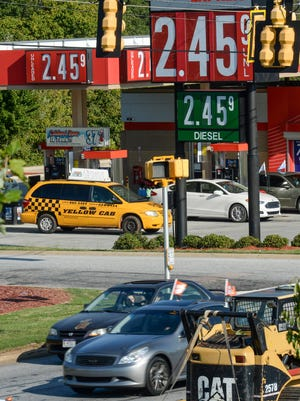 Gas prices have dropped to around $2.45 a gallon in the Upstate, including at Murphy Express on S.C. 28 Bypass in Anderson on Monday.