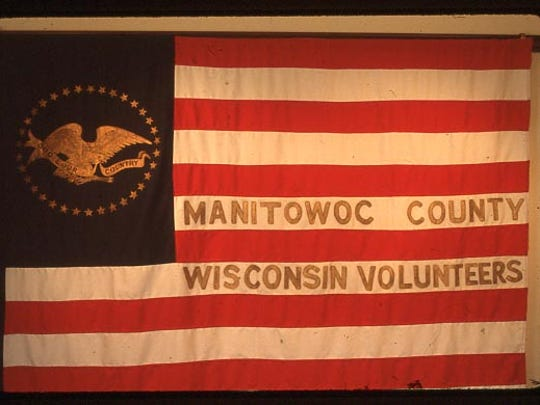 The flag of Company A was gifted to the Manitowoc Guards before they left for the Civil War. The flag was donated to the Manitowoc County Historical Society in 1925.