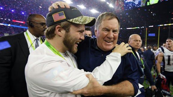 New England Patriots head coach Bill Belichick celebrates