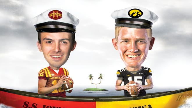 Quarterbacks Sam Richardson of Iowa State and Jake Rudock of Iowa are depicted in this Register illustration by Mark Marturello.