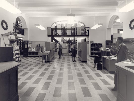 The circulation desk at the Binghamton Public Library