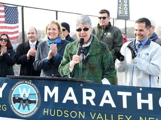 Mary Kay Vrba, President & CEO, Dutchess Tourism, Inc. speaks during Tuesday's press conference announcing the 2016 Walkway Marathon Race Series.