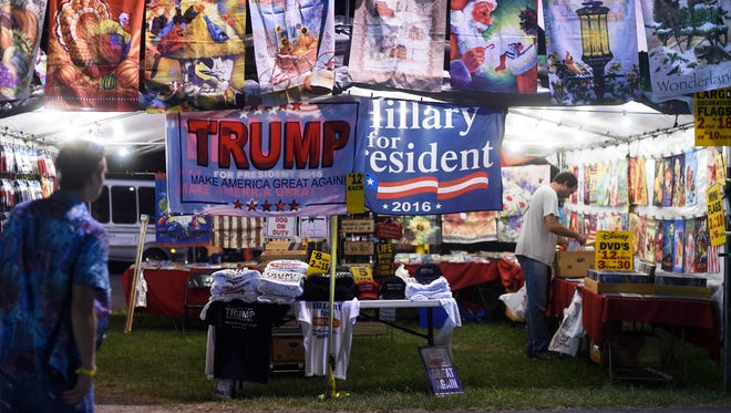 Flags for sale at the Luzerne County Fair on Sept. 8 hint at the story playing out in the northeastern Pennsylvania county, which hasn't voted for a Republican since 1988. Many political experts say Donald Trump can't win the White House without winning Pennsylvania, and winning in places like Luzerne County could be crucial   to turning the state red.