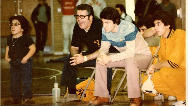 Jim Silvestri (second from left) encouraging his team in a 1976 match at Belleville. Also pictured are (from left) William Villano, Joe Zarra and Robert Villano.