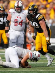 Iowa defensive end Parker Hesse (40) is entering his fourth Cy-Hawk game and is coming off a two-sack performance against Northern Illinois.