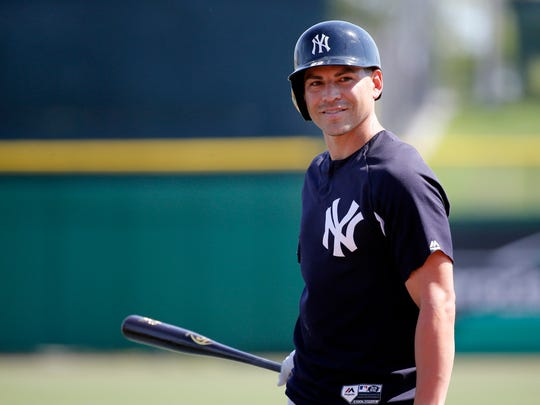 Yankees center fielder Jacoby Ellsbury, here in Clearwater, Fla., during spring training, said on Wednesday, June 7, 2017, that he feels like he's improving as he battles back from a concussion suffered May 24. The Yankees and Boston Red Sox currently are playing their first series of the season in Yankee Stadium.