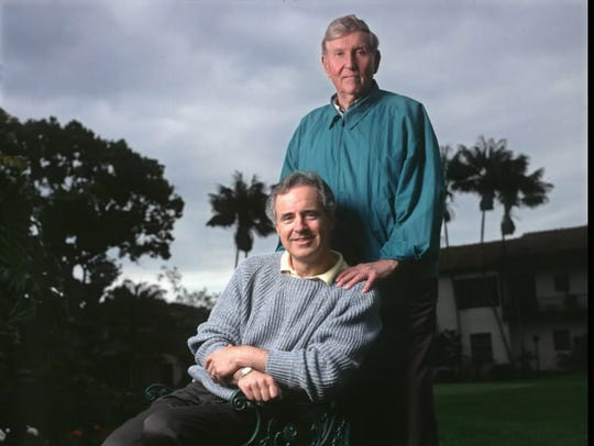 Frank Biondi, seated, and Sumner Redstone, in a 1995