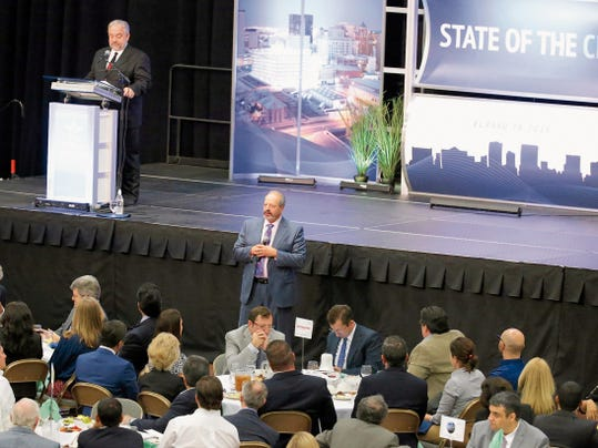 Mayor Oscar Leeser addresses the crowd on which attended his second State of City address held at the El Paso Civic Center.